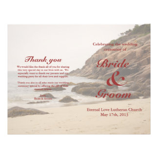 "Programa del boda de playa:  Playa rocosa Folleto 8.5"" X 11"""