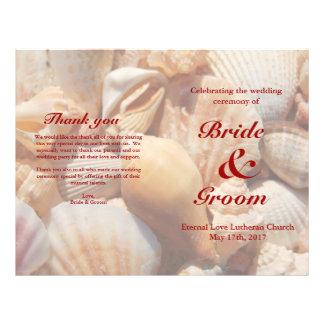 "Programa del boda de playa:  Seashell multicolor 2 Folleto 8.5"" X 11"""