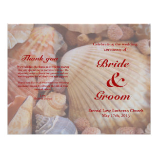 "Programa del boda de playa:  Seashell multicolor Folleto 8.5"" X 11"""