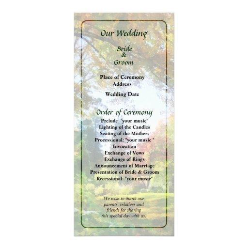 Programa del boda de Vista del otoño Tarjetas Publicitarias