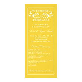 Programa del boda del amarillo del remolino del invitación 10,1 x 23,5 cm