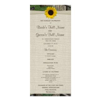 Programa del boda del arbolado y del girasol diseño de tarjeta publicitaria