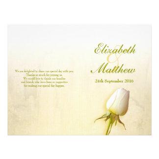 Programa del boda del brote del rosa blanco tarjetón
