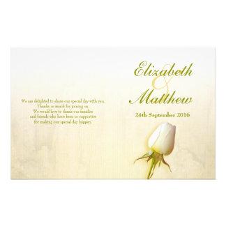 Programa del boda del brote del rosa blanco tarjeton