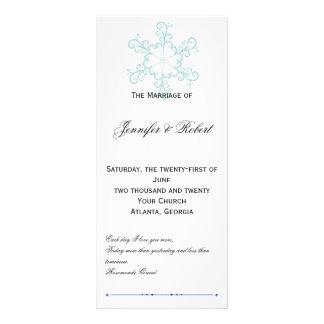 Programa del boda del copo de nieve del corazón de tarjetas publicitarias personalizadas