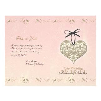 Programa del boda del corazón del damasco del vint flyer a todo color