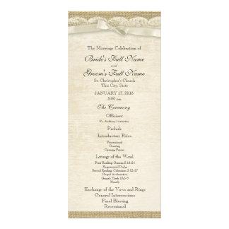 Programa del boda del cordón y de la arpillera del tarjeta publicitaria personalizada