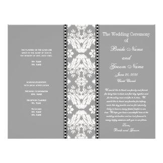 Programa del boda del damasco del blanco gris tarjetón