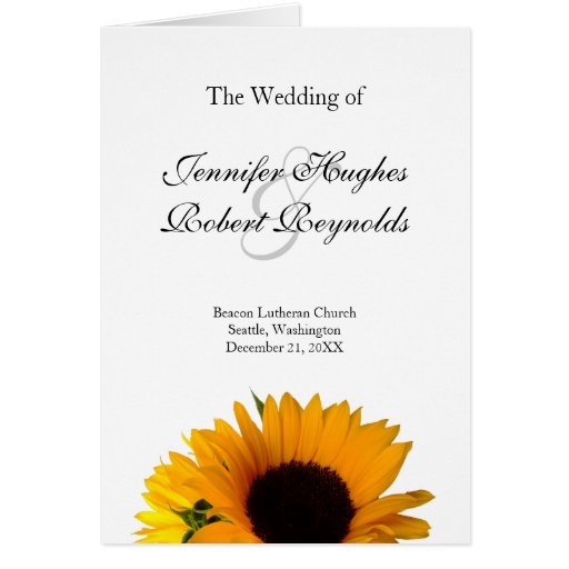 Programa del boda del girasol tarjeta de felicitación