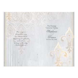 "Programa del boda del gris del damasco 2 del folleto 8.5"" x 11"""