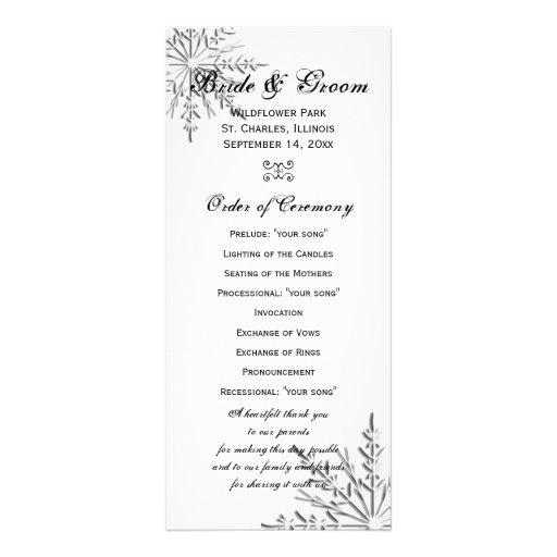 Programa del boda del invierno del copo de nieve lona