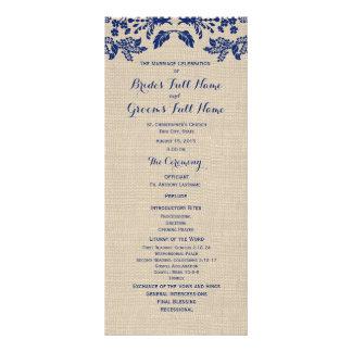 Programa del boda del jardín y de la arpillera del diseño de tarjeta publicitaria