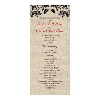 Programa del boda del jardín y de la arpillera del lona personalizada