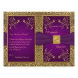 Programa del boda del medallón de la púrpura real  tarjeton