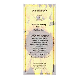 """Programa del boda del medallón del girasol folleto publicitario 4"""" x 9"""""""