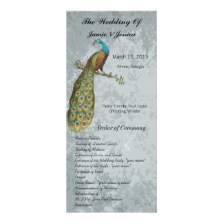 Programa del boda del pájaro del vintage tarjeta publicitaria a todo color
