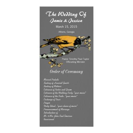 Programa del boda del pájaro del vintage tarjeta publicitaria personalizada