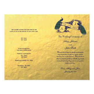 Programa del boda del pavo real del oro tarjetón