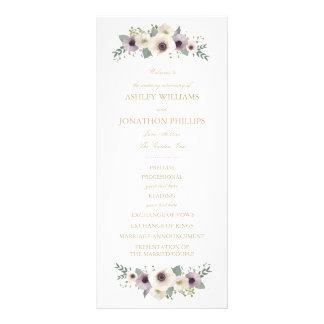 Programa del boda del ramo de la anémona plantilla de lona
