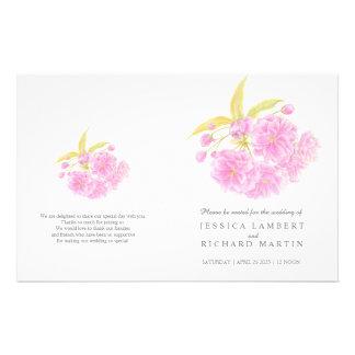 "Programa del boda del rosa del flor de la acuarela folleto 5.5"" x 8.5"""