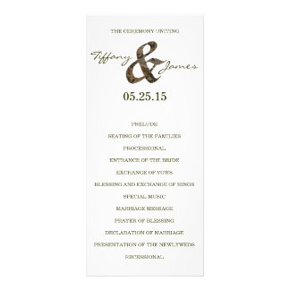 "Programa del boda del signo ""&"" de Camo Tarjeta Publicitaria"