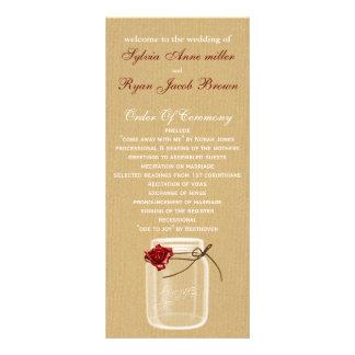 programa del boda del tarro de albañil de la tarjeta publicitaria personalizada