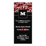 Programa del boda del texto del amor en Merlot Invitación 10,1 X 23,5 Cm