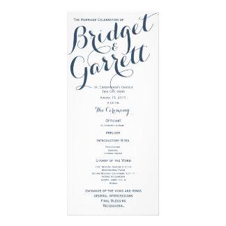 Programa del boda del texto del diseñador lona