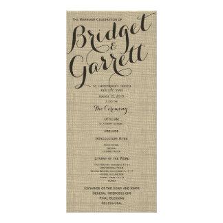 Programa del boda del texto del diseñador lonas personalizadas