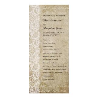 Programa del boda del Viejo Mundo del cordón del v Lona Personalizada