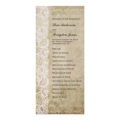 Programa del boda del Viejo Mundo del cordón del v Diseño De Tarjeta Publicitaria