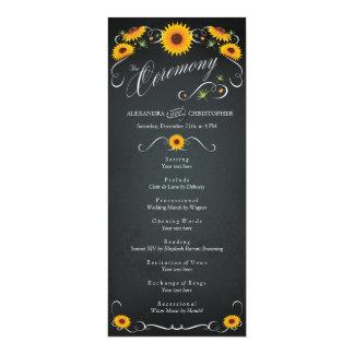 """Programa del boda del vintage de la pizarra del invitación 4"""" x 9.25"""""""