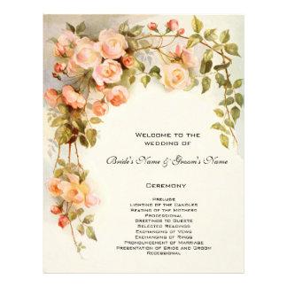 Programa del boda del vintage, flores color de ros tarjeta publicitaria