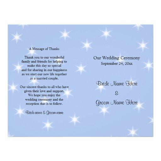 Programa del boda en azul claro con las estrellas  tarjetas publicitarias