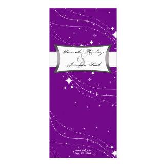 Programa del boda - estrellas de la púrpura y del  tarjetas publicitarias