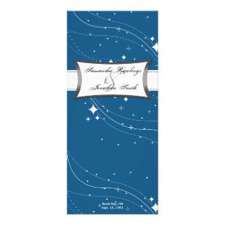 Programa del boda - estrellas del azul y del blanc tarjeta publicitaria a todo color