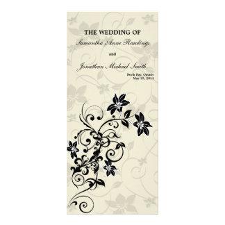 Programa del boda - floral blanco y negro elegante diseños de tarjetas publicitarias