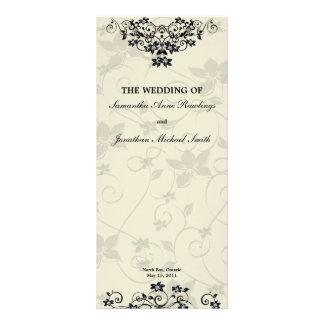 Programa del boda - floral blanco y negro elegante tarjetas publicitarias personalizadas