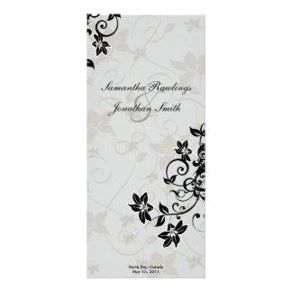 Programa del boda - floral de plata elegante plantilla de lona