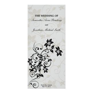 Programa del boda - floral de plata elegante diseños de tarjetas publicitarias
