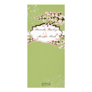 Programa del boda - flores de cerezo de la verde s tarjeta publicitaria personalizada