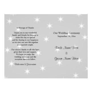 Programa del boda, gris pálido con las estrellas b tarjetas informativas