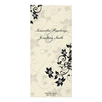 Programa del boda - negro elegante y marfil floral tarjetas publicitarias