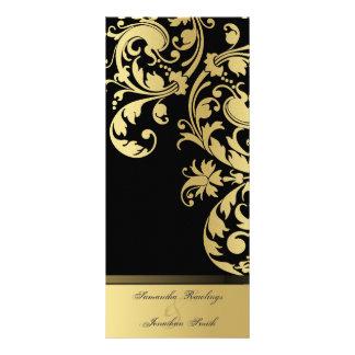 Programa del boda - negro y reflejo del oro floral tarjeta publicitaria