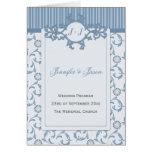 Programa del boda, rayas azul claro y damasco tarjetón
