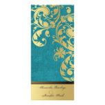 Programa del boda - reflejo de la turquesa y del o tarjeta publicitaria a todo color