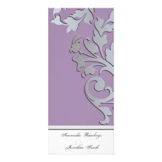 Programa del boda - remolino de plata púrpura de l tarjetas publicitarias personalizadas