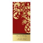 Programa del boda - rojo y reflejo del oro floral tarjeta publicitaria