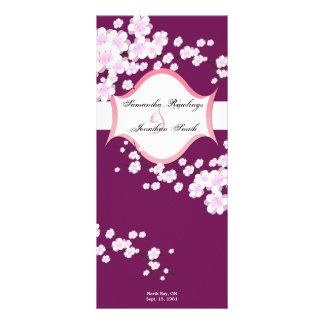 Programa del boda - sangría y flores de cerezo bla lona publicitaria