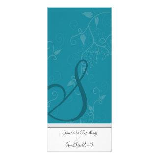 Programa del boda - turquesa del monograma floral plantillas de lonas